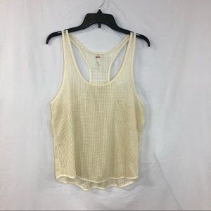 Free People mesh cream/gold tank